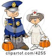 Halloween Police Officer And Doctor