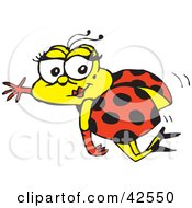 Flying Pretty Ladybug Waving And Wearing Gloves And Heels