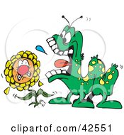 Clipart Illustration Of A Scared Flower Cowing Under A Hungry Caterpillar