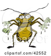 Clipart Illustration Of A Nasty Cockroach Dripping With Goo