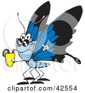 Clipart Illustration Of A Thirsty Blue Butterfly Wearing Shades And Drinking A Cocktail