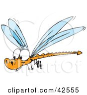 Clipart Illustration Of A Happy Orange Dragonfly With A Forked Tail