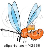 Clipart Illustration Of A Bored Orange Dragonfly With A Forked Tail by Dennis Holmes Designs