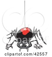 Clipart Illustration Of A Creepy Black Widow Spider Descending On A Web