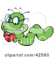 Clipart Illustration Of A Smart Green Worm Crawling And Reading A Book