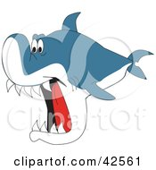 Clipart Illustration Of A Hungry Shark Swimming With His Jaws Wide Open by Dennis Holmes Designs