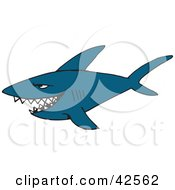 Clipart Illustration Of An Evil Blue Shark Swimming And Smiling