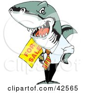 Clipart Illustration Of An Evil Business Shark Holding A For Sale Sign by Dennis Holmes Designs