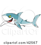 Clipart Illustration Of A Mean Shark Swimming And Grinning by Dennis Holmes Designs