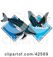 Clipart Illustration Of Two Blue Whales Frolicking In Water Diamonds