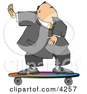 Successful Businessman Surfing On A Skateboard Clipart