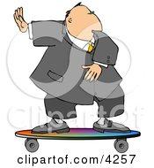Successful Businessman Surfing On A Skateboard