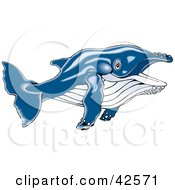 Clipart Illustration Of A Swimming Blue Whale