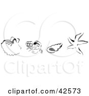 Clipart Illustration Of A Row Of Black Sketched Shells Starfish And Hermit Crabs by Dennis Holmes Designs
