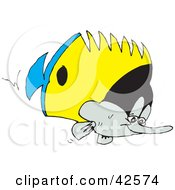 Clipart Illustration Of A Blue Yellow Black And White Marine Fish