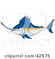 Clipart Illustration Of A Tough Blue Swordfish by Dennis Holmes Designs