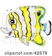 Clipart Illustration Of A White Yellow And Blue Striped Marine Fish