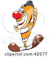 Clipart Illustration Of A Clowny Clown Fish Wearing A Red Nose And Big Shoes