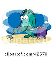 Clipart Illustration Of A Green Female Fish Vacuuming The Sea Floor