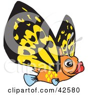Clipart Illustration Of A Flying Orange Fish With Yellow Butterfly Wings by Dennis Holmes Designs