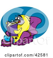 Clipart Illustration Of A Relaxed Yellow Marine Fish Reading In A Chair by Dennis Holmes Designs