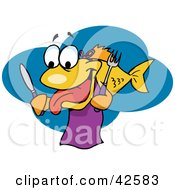Clipart Illustration Of A Hungry Yellow Fish Wearing A Bib And Holding A Knife And Fork