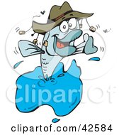 Clipart Illustration Of A Happy Fish Jumping Out Of Water And Wearing A Hat by Dennis Holmes Designs