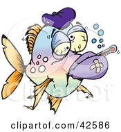 Clipart Illustration Of A Fever And Flu Ridden Sick Fish With A Thermometer And Ice Pack