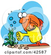 Clipart Illustration Of An Orange Marine Fish Watering An Aquatic Plant