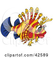 Clipart Illustration Of A Blue Red And Orange Lion Fish