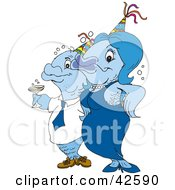 Clipart Illustration Of A Blue Fish Couple Wearing Party Hats