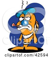 Clipart Illustration Of A Sick Clown Fish With An Ice Pack And Thermometer