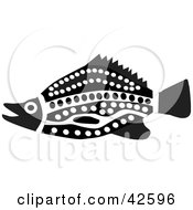 Clipart Illustration Of A Black And White Aztec Fish by Dennis Holmes Designs