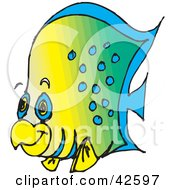 Clipart Illustration Of A Gradient Green And Yellow Fish