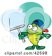 Clipart Illustration Of A Green Fish Window Cleaner Using A Squeegee