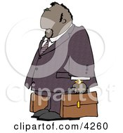 Ethnic Businessman Traveling With A Couple Briefcases Clipart
