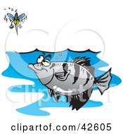 Clipart Illustration Of A Mosquito Diving Down Right Above A Hungry Fish by Dennis Holmes Designs