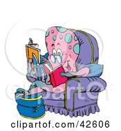 Clipart Illustration Of A Relaxed Octopus Reading Multiple Books In An Arm Chair by Dennis Holmes Designs