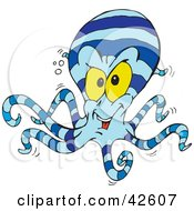 Clipart Illustration Of A Blue Striped Octopus With Yellow Eyes by Dennis Holmes Designs
