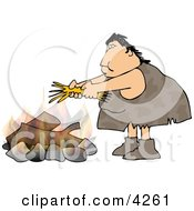 Female Caveman Starting A Campfire Clipart by djart