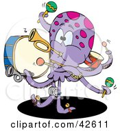 Clipart Illustration Of A Musical Octopus Playing Instruments by Dennis Holmes Designs