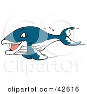 Clipart Illustration Of A Fast Swimming Blue Whale