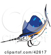 Clipart Illustration Of A Swimming White Orange And Blue Marlin Fish by Dennis Holmes Designs