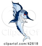 Clipart Illustration Of A Mean Blue Marlin With Red Eyes by Dennis Holmes Designs