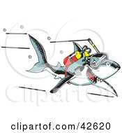 Clipart Illustration Of A Scuba Shark Swimming With An Oxygen Tank by Dennis Holmes Designs