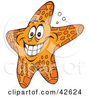 Clipart Illustration Of A Hyper Orange Starfish