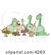 Dinosaurs And Cavemen Clipart