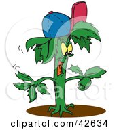 Clipart Illustration Of A Happy Green Plant Wearing A Baseball Cap And Pointing