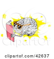 Clipart Illustration Of A Smart Brain Wearing Shades And Reading