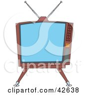 Clipart Illustration Of An Old Fashioned Square Tv On A Stand